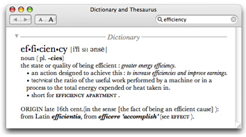 dictionary entry for efficiency